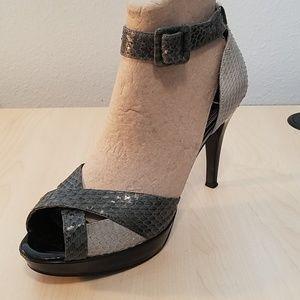 WHBM snake skin sandals heels ankle  strap 7.5